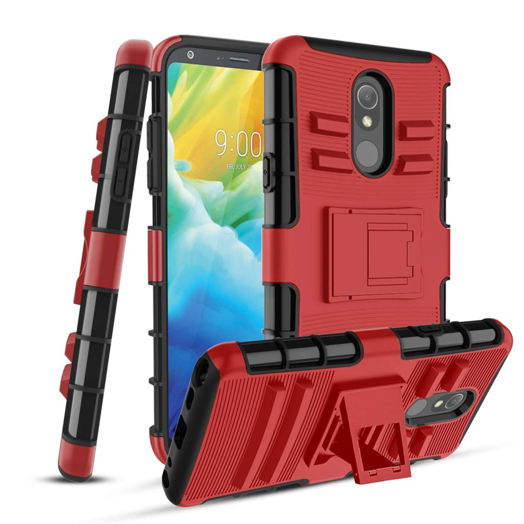LG Stylo 5 Tempered Glass Screen Protector & Buit-in Kickstand, Red